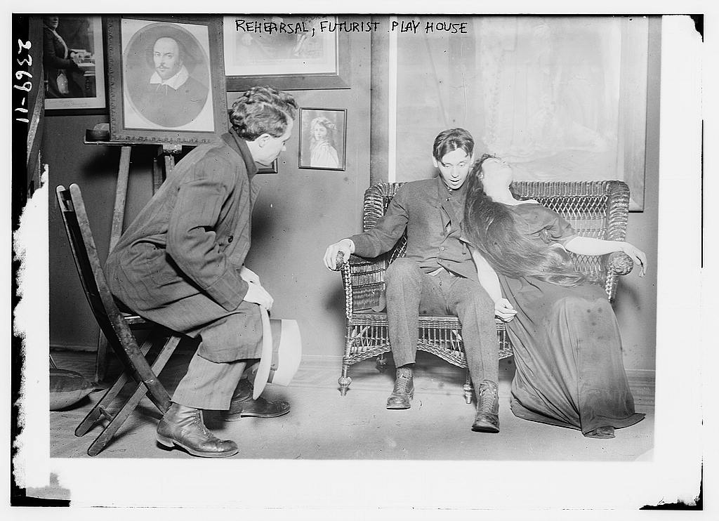 Rehearsal for the Futurist Play House in about 1910